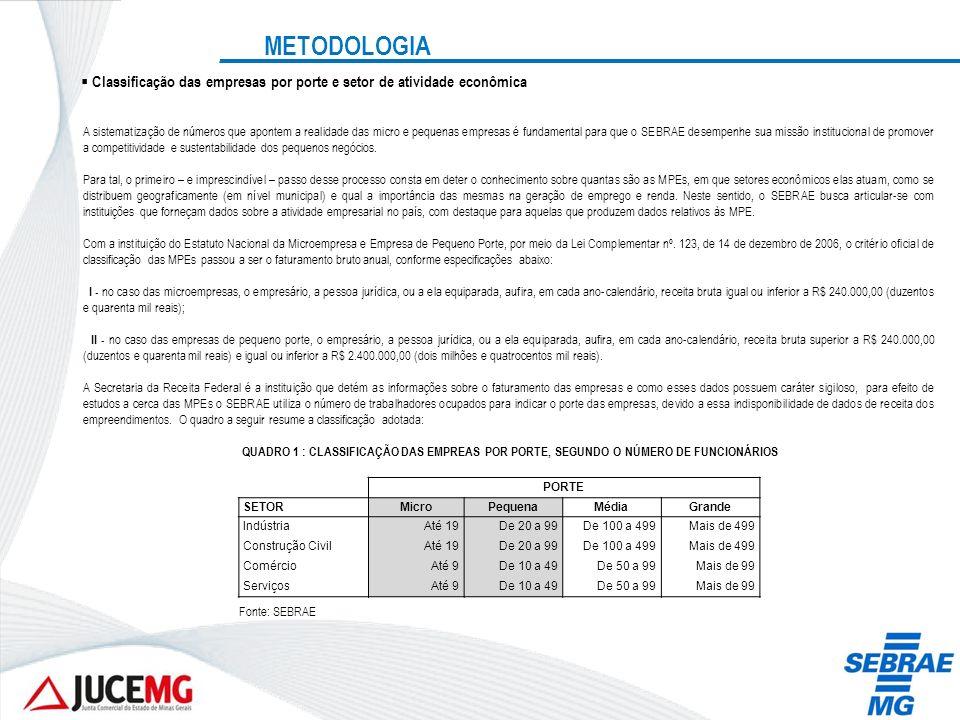 METODOLOGIA Classificação das empresas por porte e setor de atividade econômica.