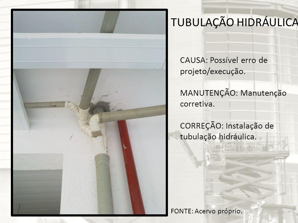 TUBULAÇÃO HIDRÁULICA CAUSA: Possível erro de projeto/execução.