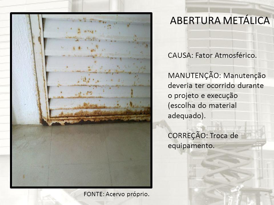 ABERTURA METÁLICA CAUSA: Fator Atmosférico.