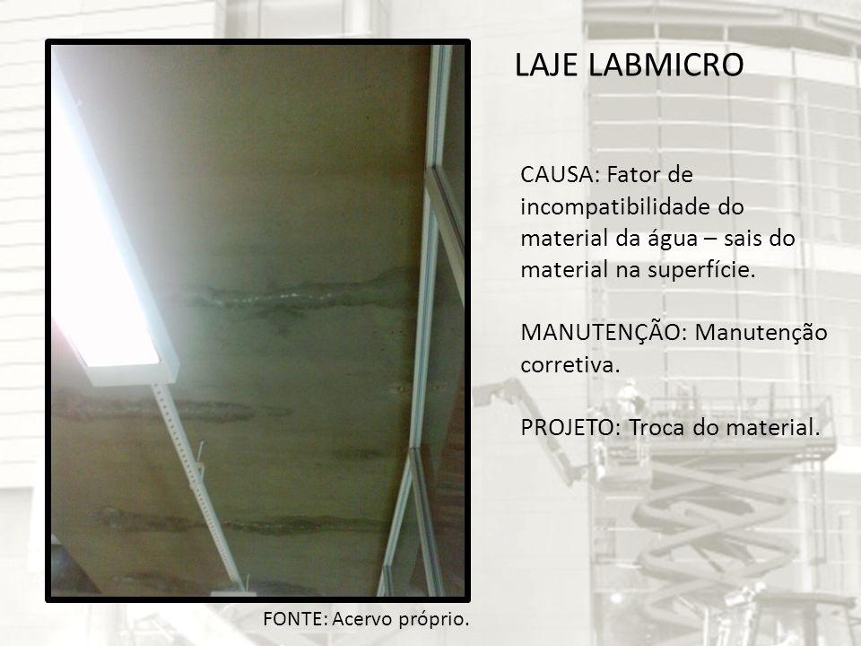 LAJE LABMICRO CAUSA: Fator de incompatibilidade do material da água – sais do material na superfície.
