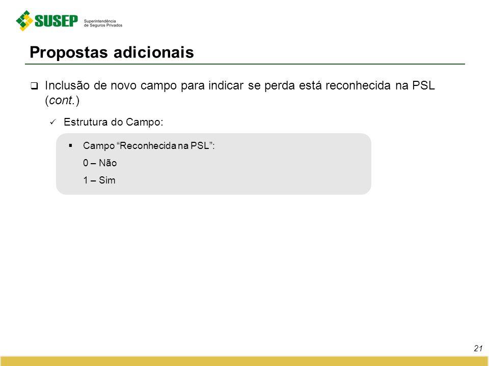 Propostas adicionais Inclusão de novo campo para indicar se perda está reconhecida na PSL (cont.) Estrutura do Campo: