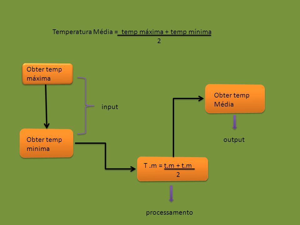 Temperatura Média = temp máxima + temp mínima