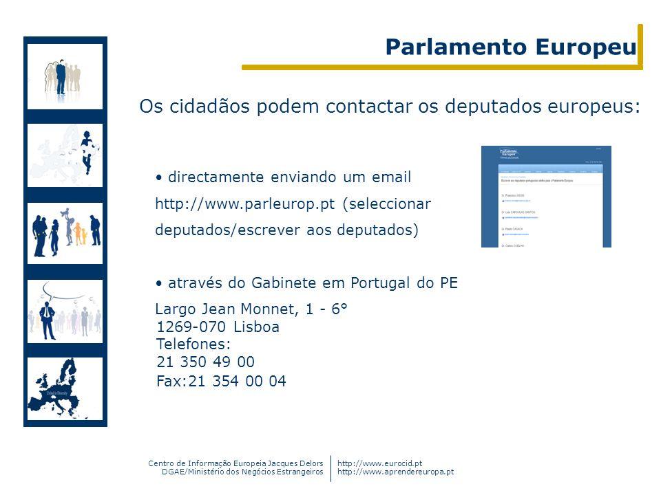 Parlamento Europeu Os cidadãos podem contactar os deputados europeus: