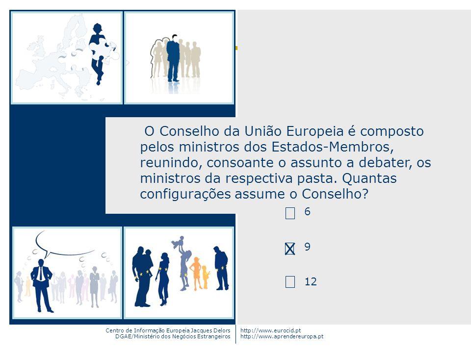 O Conselho da União Europeia é composto pelos ministros dos Estados-Membros, reunindo, consoante o assunto a debater, os ministros da respectiva pasta. Quantas configurações assume o Conselho