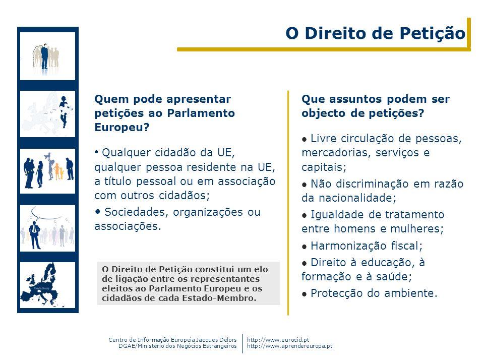 O Direito de Petição Quem pode apresentar petições ao Parlamento Europeu