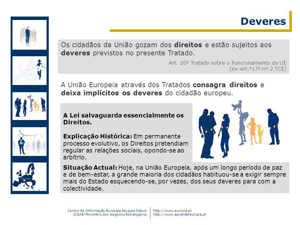 Deveres Os cidadãos da União gozam dos direitos e estão sujeitos aos deveres previstos no presente Tratado.