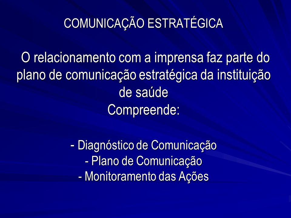 COMUNICAÇÃO ESTRATÉGICA O relacionamento com a imprensa faz parte do plano de comunicação estratégica da instituição de saúde Compreende: - Diagnóstico de Comunicação - Plano de Comunicação - Monitoramento das Ações