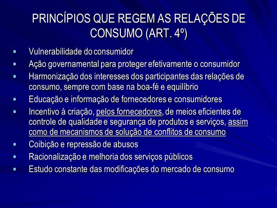PRINCÍPIOS QUE REGEM AS RELAÇÕES DE CONSUMO (ART. 4º)