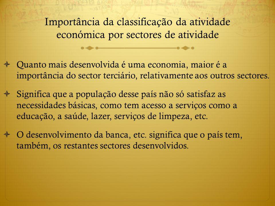 Importância da classificação da atividade económica por sectores de atividade