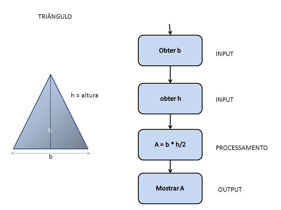 TRIÂNGULO Obter b INPUT h obter h h = altura INPUT A = b * h/2 PROCESSAMENTO b Mostrar A OUTPUT