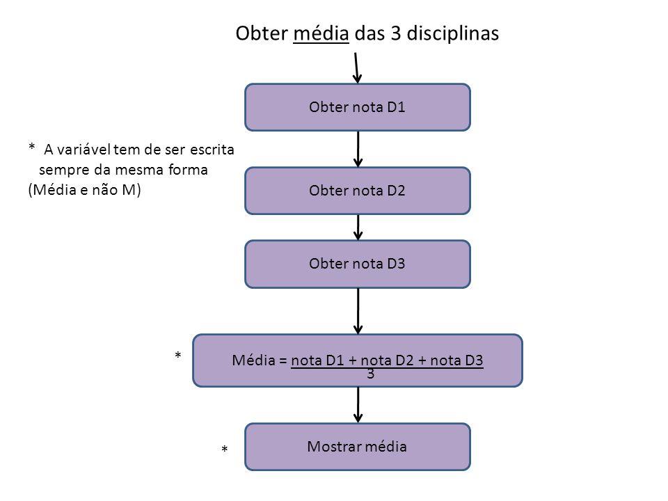 Média = nota D1 + nota D2 + nota D3