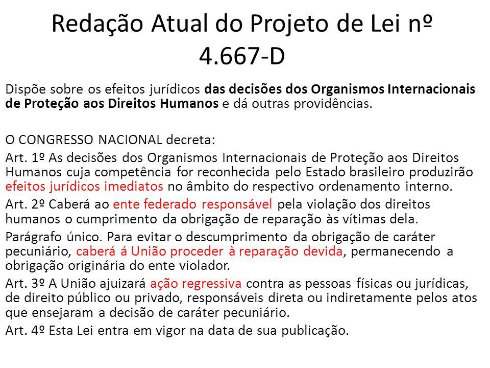 Redação Atual do Projeto de Lei nº 4.667-D