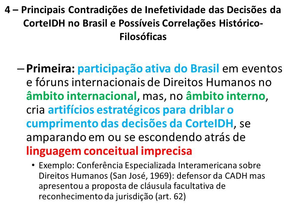 4 – Principais Contradições de Inefetividade das Decisões da CorteIDH no Brasil e Possíveis Correlações Histórico-Filosóficas