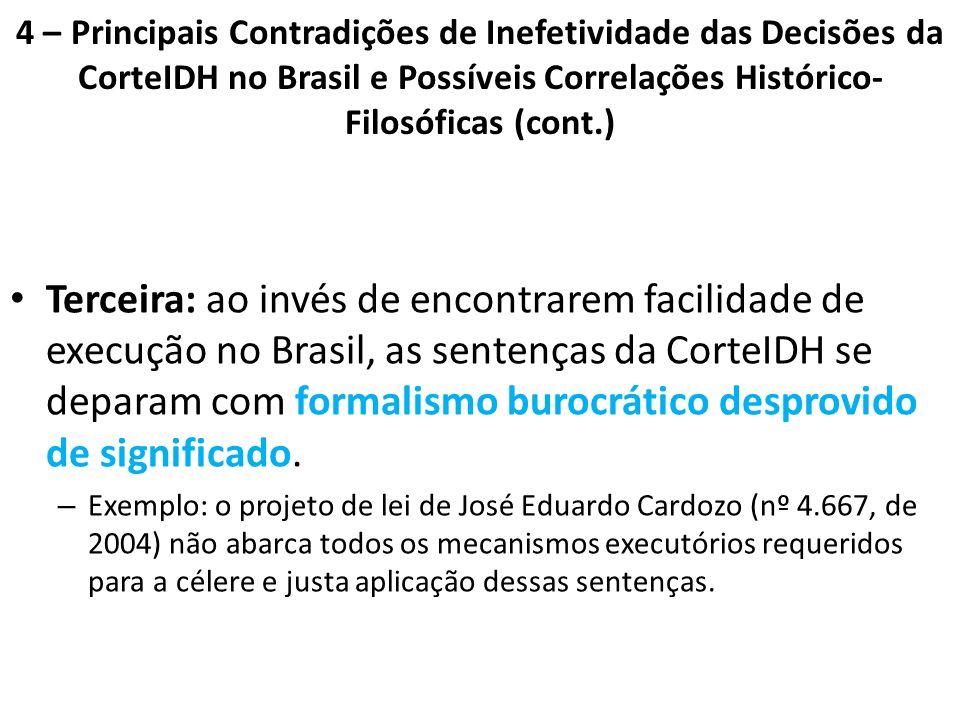 4 – Principais Contradições de Inefetividade das Decisões da CorteIDH no Brasil e Possíveis Correlações Histórico-Filosóficas (cont.)