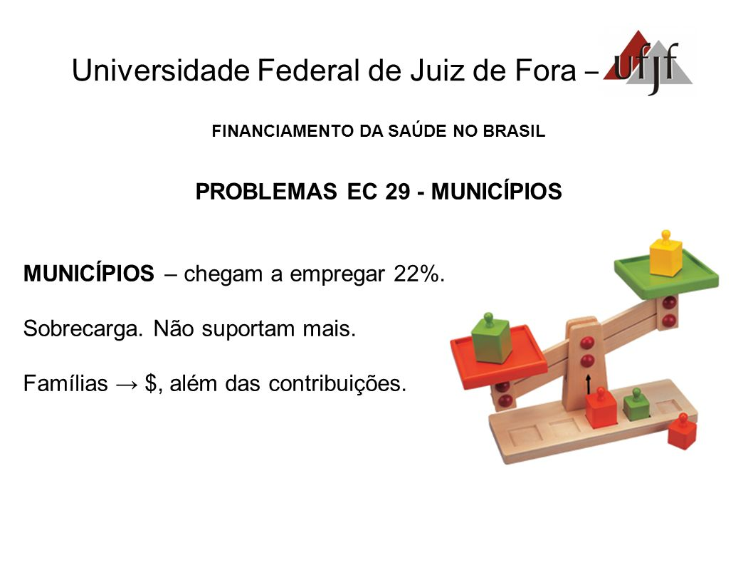 FINANCIAMENTO DA SAÚDE NO BRASIL PROBLEMAS EC 29 - MUNICÍPIOS