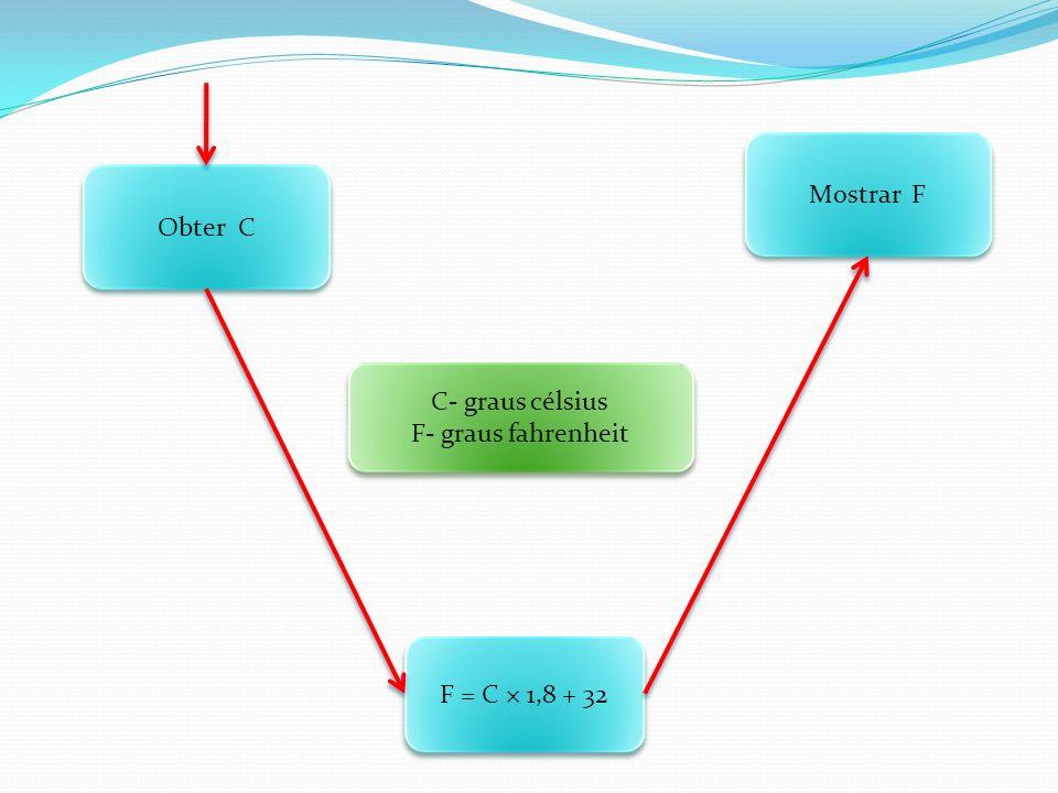 Mostrar F Obter C C- graus célsius F- graus fahrenheit F = C × 1,8 + 32