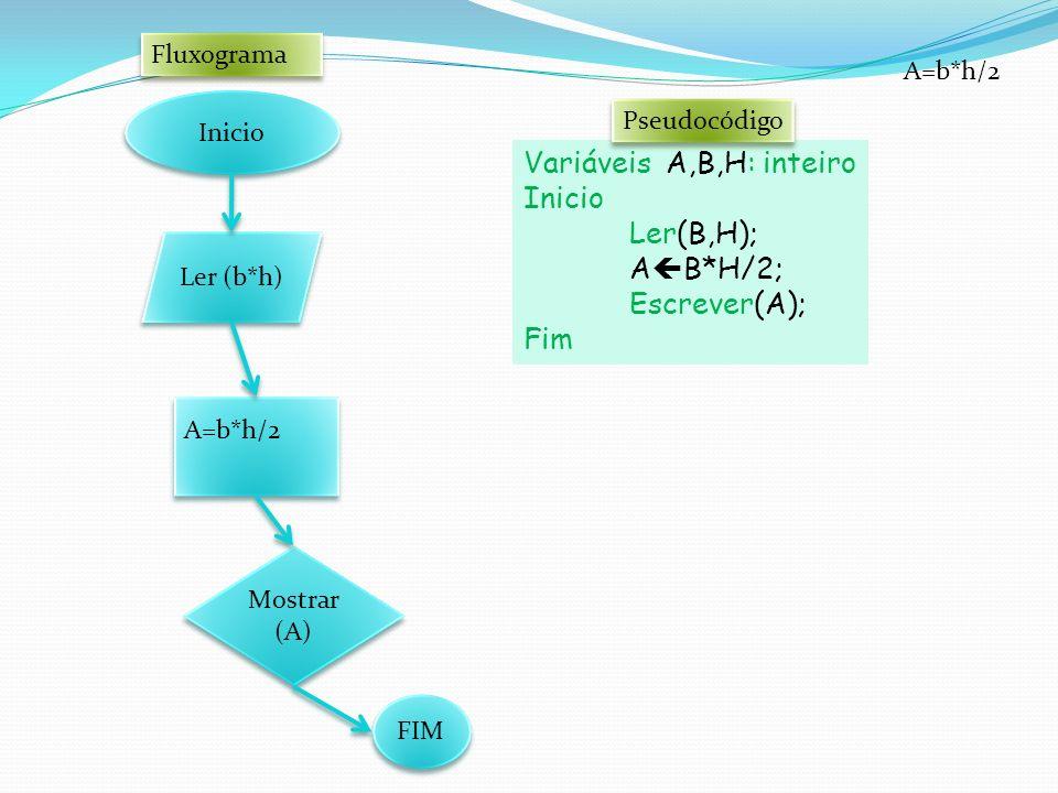 Variáveis A,B,H: inteiro Inicio Ler(B,H); AB*H/2; Escrever(A); Fim