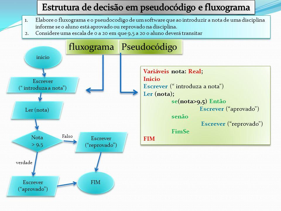 Estrutura de decisão em pseudocódigo e fluxograma