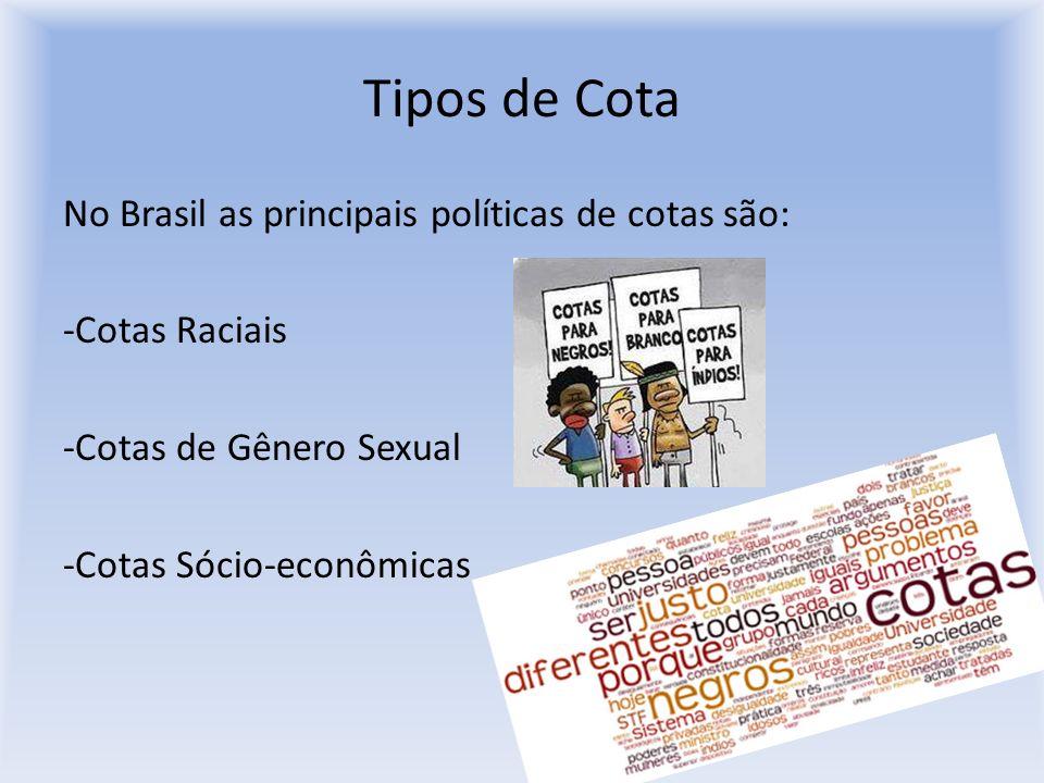 Tipos de CotaNo Brasil as principais políticas de cotas são: -Cotas Raciais -Cotas de Gênero Sexual -Cotas Sócio-econômicas