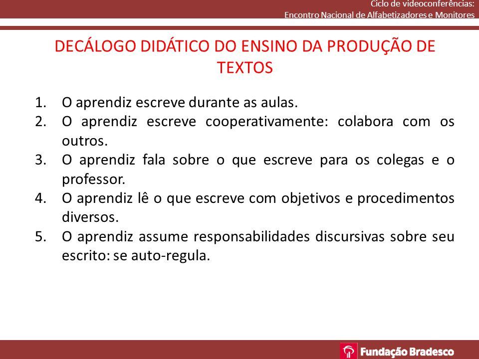DECÁLOGO DIDÁTICO DO ENSINO DA PRODUÇÃO DE TEXTOS