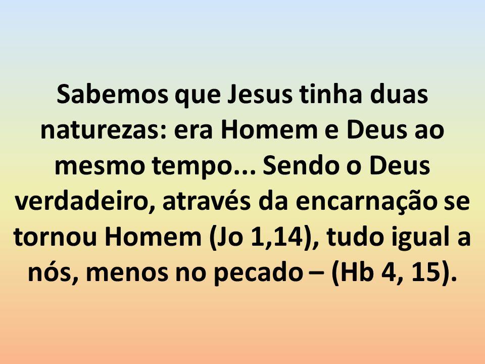 Sabemos que Jesus tinha duas naturezas: era Homem e Deus ao mesmo tempo...