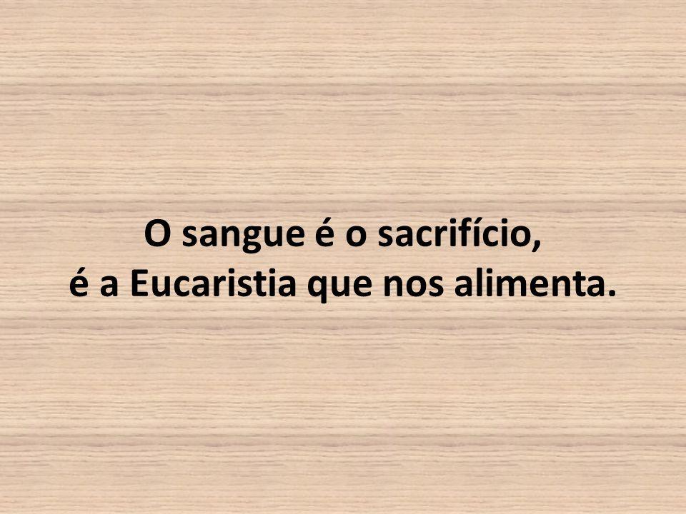 O sangue é o sacrifício, é a Eucaristia que nos alimenta.