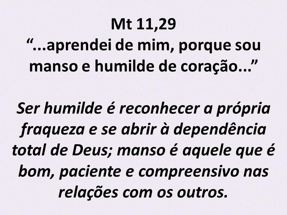 Mt 11,29 . aprendei de mim, porque sou manso e humilde de coração