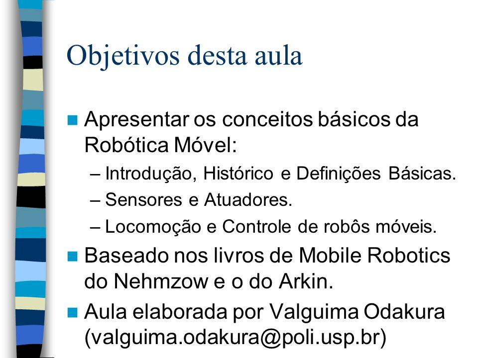 Objetivos desta aula Apresentar os conceitos básicos da Robótica Móvel: Introdução, Histórico e Definições Básicas.