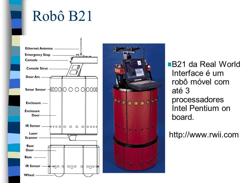 Robô B21 B21 da Real World Interface é um robô móvel com até 3 processadores Intel Pentium on board.