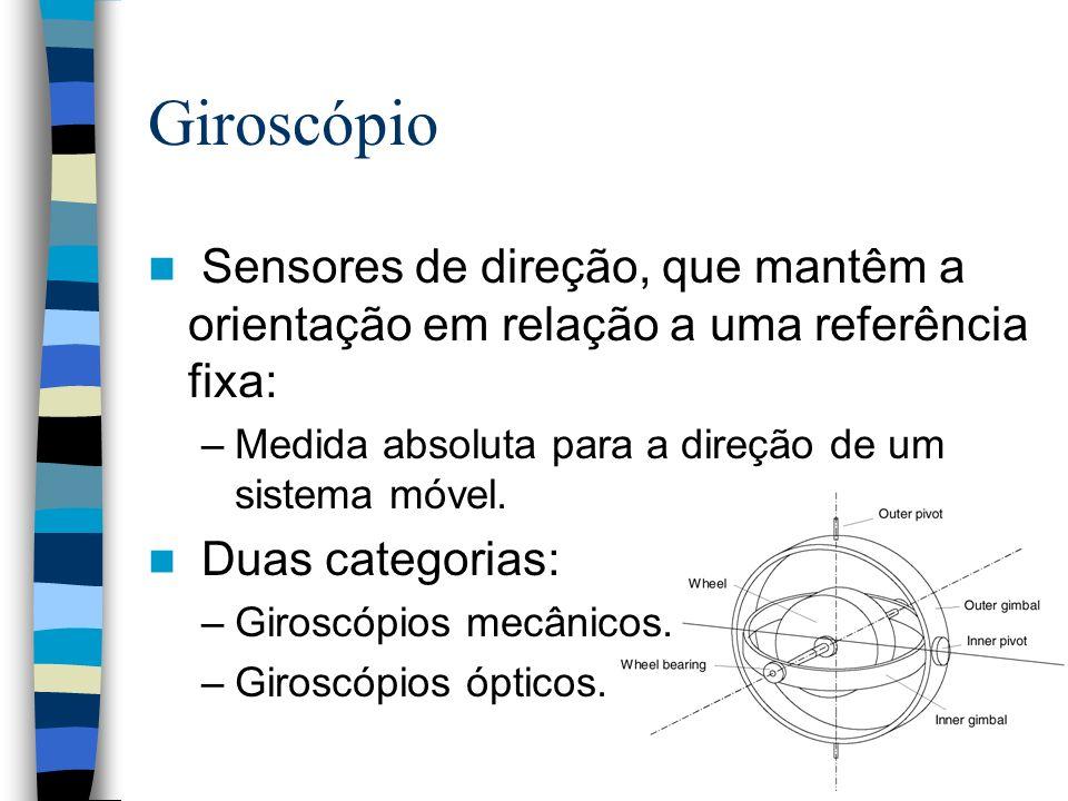 Giroscópio Sensores de direção, que mantêm a orientação em relação a uma referência fixa: Medida absoluta para a direção de um sistema móvel.