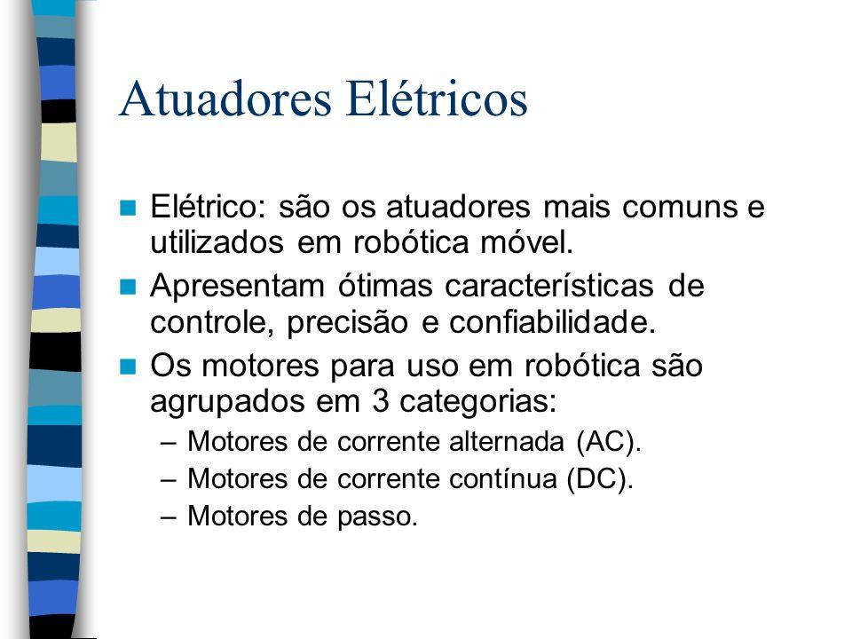 Atuadores Elétricos Elétrico: são os atuadores mais comuns e utilizados em robótica móvel.