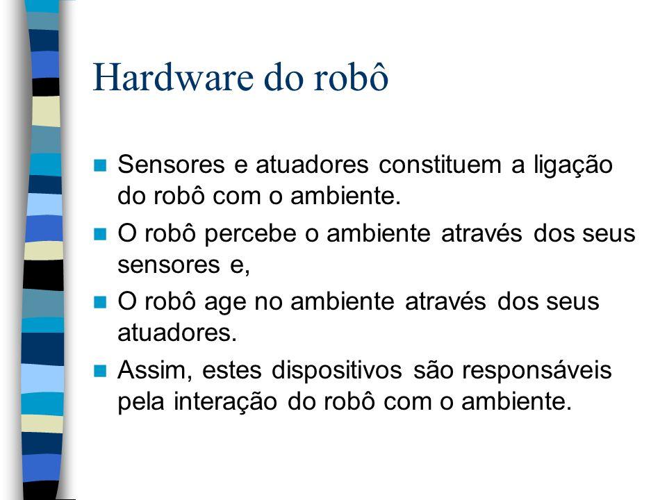 Hardware do robô Sensores e atuadores constituem a ligação do robô com o ambiente. O robô percebe o ambiente através dos seus sensores e,