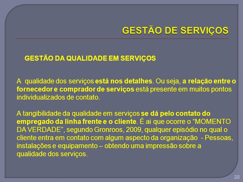 GESTÃO DE SERVIÇOS GESTÃO DA QUALIDADE EM SERVIÇOS