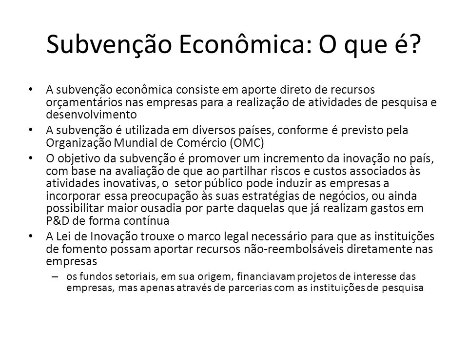 Subvenção Econômica: O que é