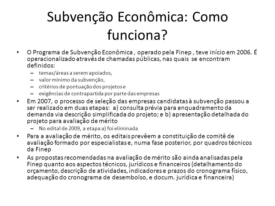 Subvenção Econômica: Como funciona