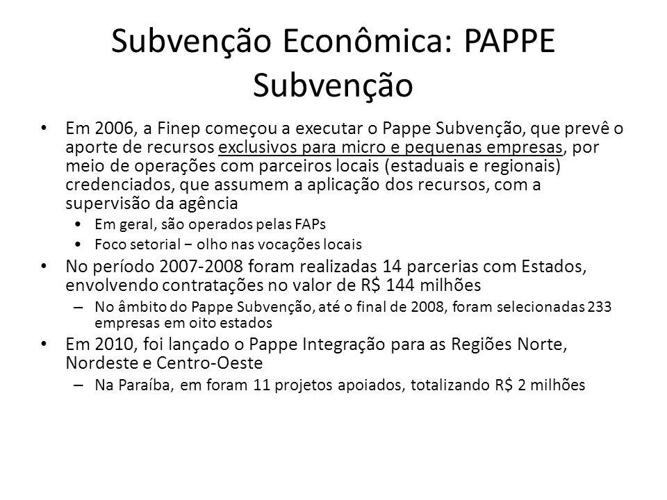 Subvenção Econômica: PAPPE Subvenção