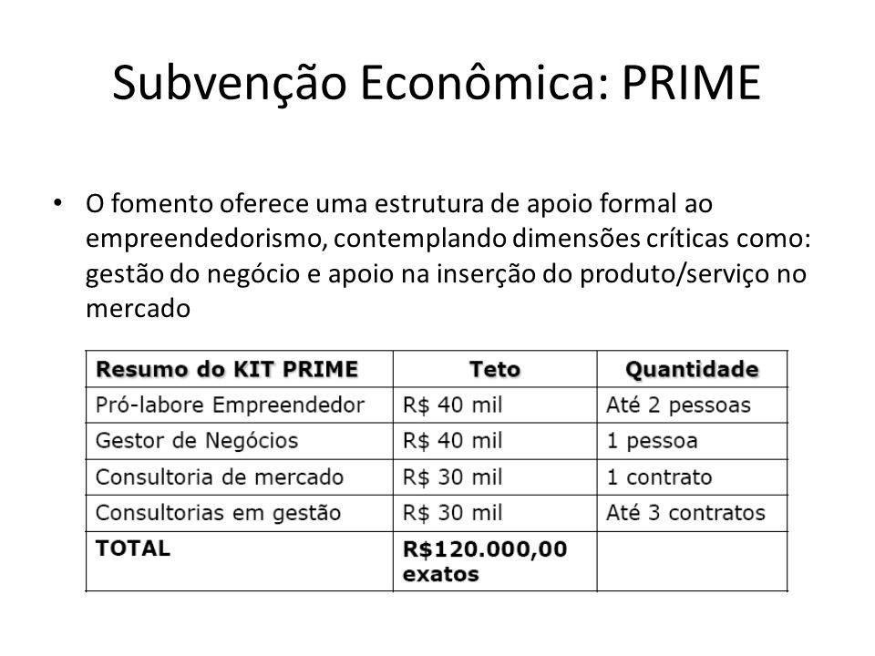 Subvenção Econômica: PRIME