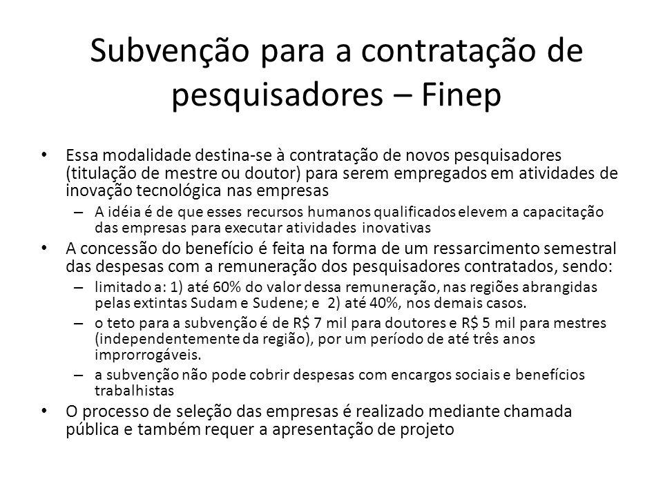 Subvenção para a contratação de pesquisadores – Finep