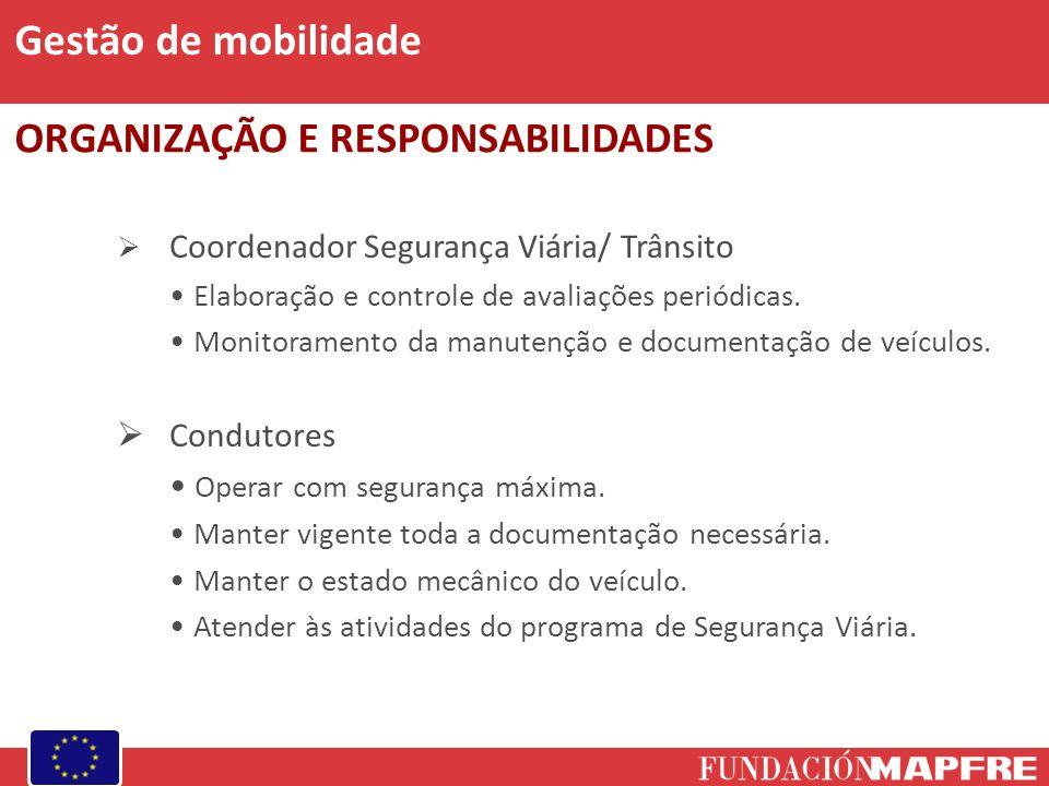 Gestão de mobilidade ORGANIZAÇÃO E RESPONSABILIDADES Condutores