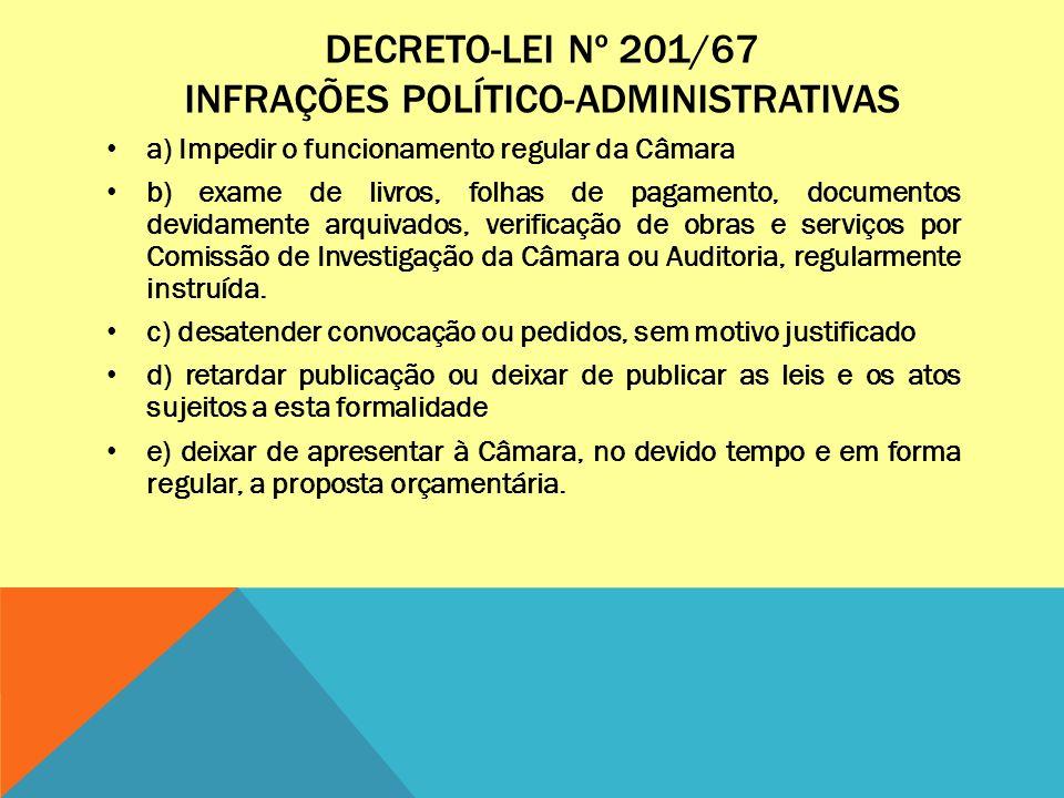 DECRETO-LEI Nº 201/67 INFRAÇÕES POLÍTICO-ADMINISTRATIVAS