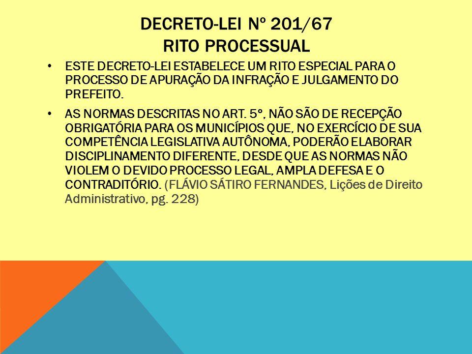DECRETO-LEI Nº 201/67 RITO PROCESSUAL