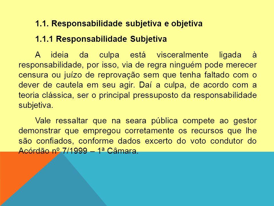 1. 1. Responsabilidade subjetiva e objetiva 1. 1