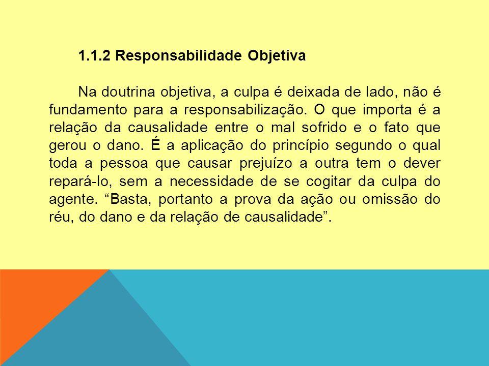 1.1.2 Responsabilidade Objetiva Na doutrina objetiva, a culpa é deixada de lado, não é fundamento para a responsabilização.