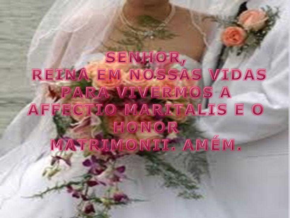 SENHOR, REINA EM NOSSAS VIDAS PARA VIVERMOS A AFFECTIO MARITALIS E O HONOR MATRIMONII. AMÉM.