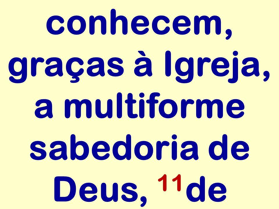 conhecem, graças à Igreja, a multiforme sabedoria de Deus, 11de