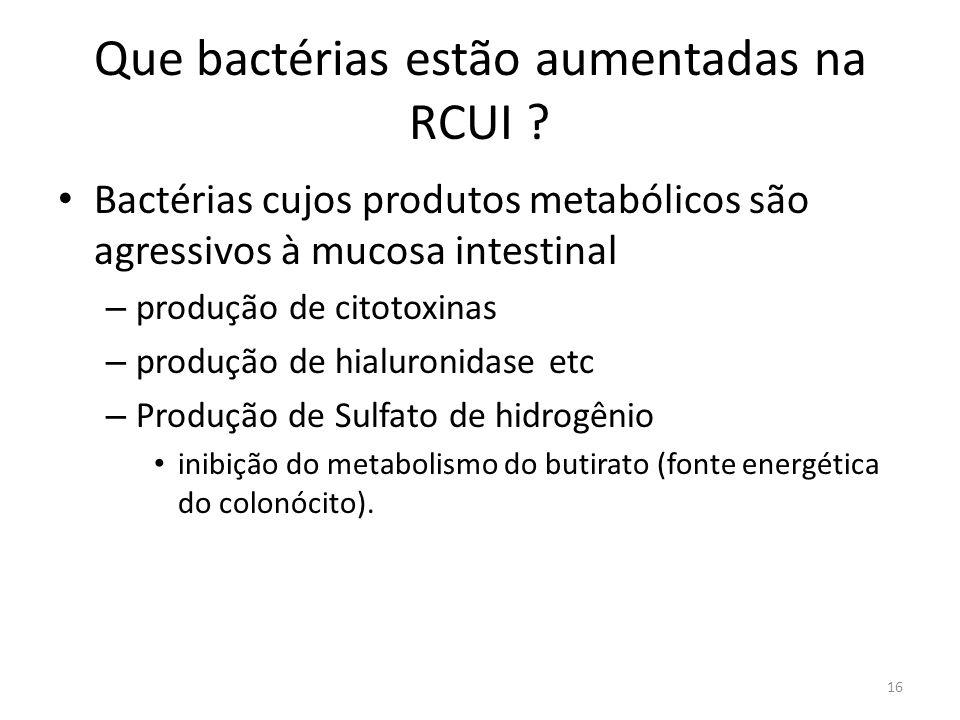 Que bactérias estão aumentadas na RCUI