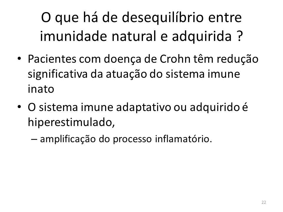 O que há de desequilíbrio entre imunidade natural e adquirida