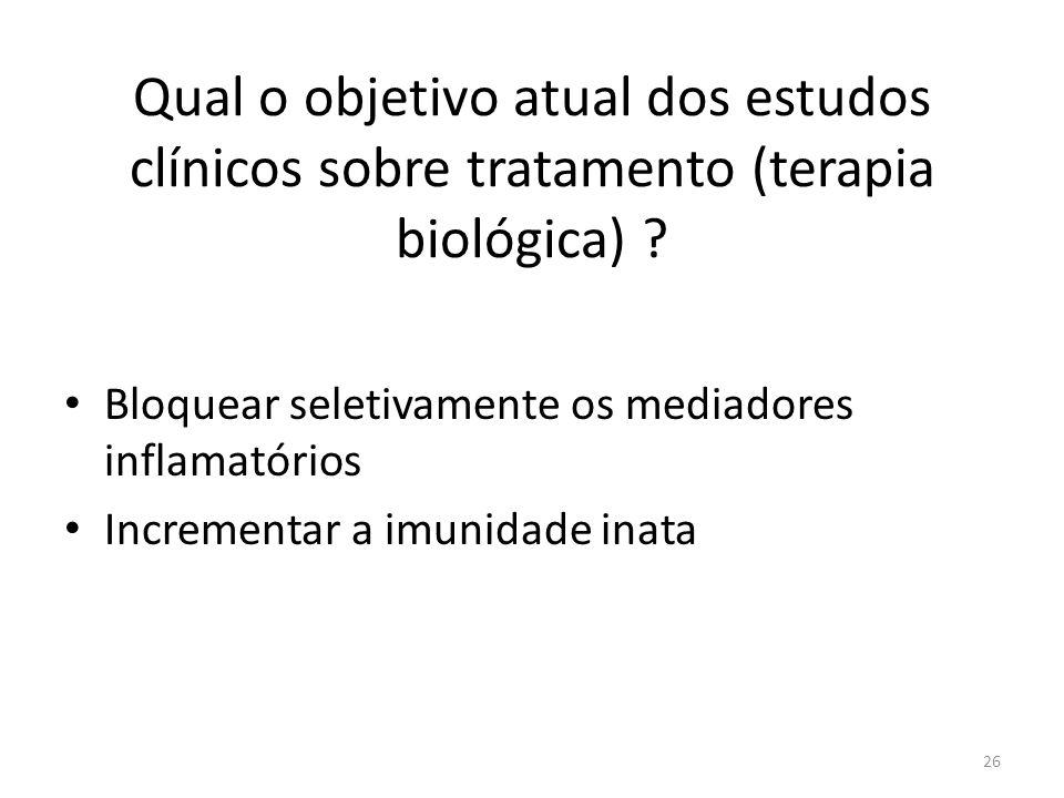 Qual o objetivo atual dos estudos clínicos sobre tratamento (terapia biológica)