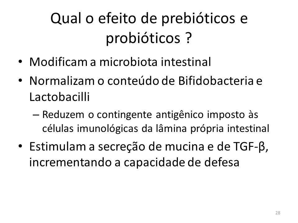 Qual o efeito de prebióticos e probióticos