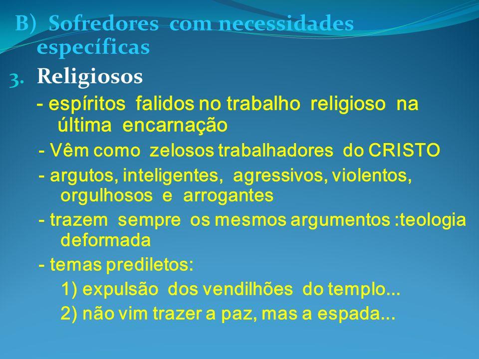 B) Sofredores com necessidades específicas Religiosos